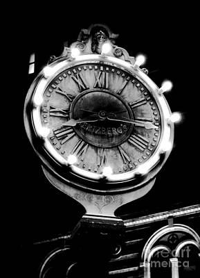 Classic Nostalgic Americana Clock Downtown San Antonio Black And White Conte Crayon Digital Art Poster
