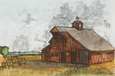 Classic Red Barn Poster by Hailey Jackson