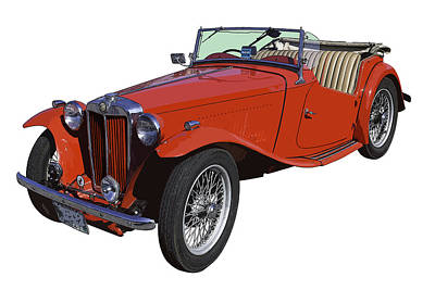Classic Red Mg Tc Convertible British Sports Car Poster by Keith Webber Jr