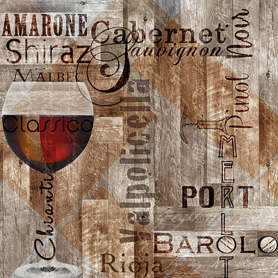 Classic Red Wines Poster by Lisa Wolk