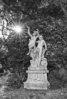 Classic Statue With Sunburst At The North Vista Lawn Of The Huntington Library. Poster