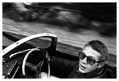 Classic Steve Mcqueen Photo Driving Jaguar Xk Ss Poster by Georgia Fowler