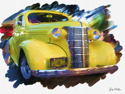 Classic Yellow Car  Poster