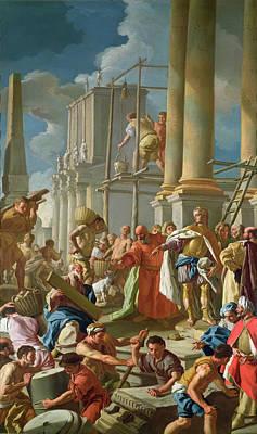 Classical Construction Scene Oil On Panel Poster by Francesco de Mura