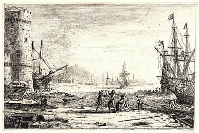 Claude Lorrain French, 1604 - 1682. Seaport With A Round Poster by Litz Collection