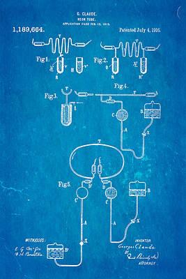 Claude Neon Patent Art 1916 Blueprint Poster