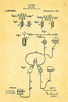 Claude Neon Patent Art 1916 Poster