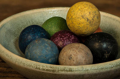Clay Marbles In Bowl Poster