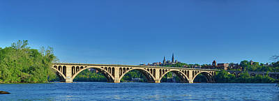 Clear Blue Skies At Key Bridge Poster by Metro DC Photography