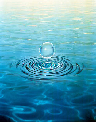 Clear Bubble Floating Above Water Poster