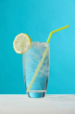 Clear Glass Of Water With Lemon And Poster