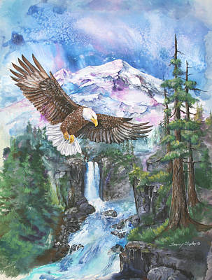 Poster featuring the painting Cleared For Landing Mount Baker by Sherry Shipley