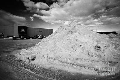 Cleared Snow Piled Up In The Car Park Of A Supermarket Kirkenes Finnmark Norway Europe Poster by Joe Fox