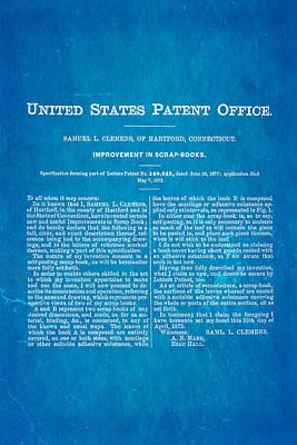 Clemens Mark Twain Scrap Book 2 Patent Art 1873 Blueprint Poster by Ian Monk