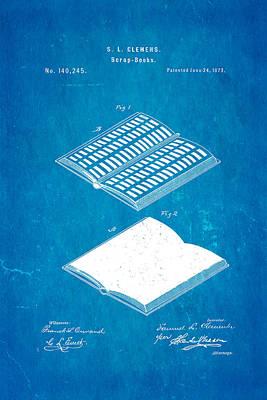 Clemens Mark Twain Scrap Book Patent Art 1873 Blueprint Poster by Ian Monk