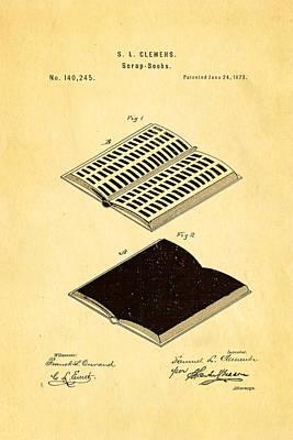 Clemens Mark Twain Scrap Book Patent Art 1873 Poster by Ian Monk