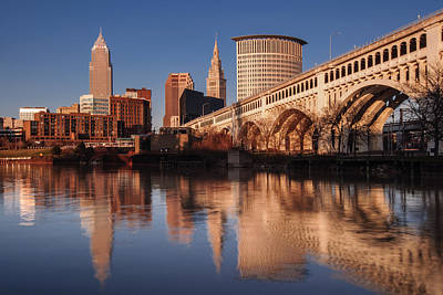 Cleveland From The River Golden Hour Poster