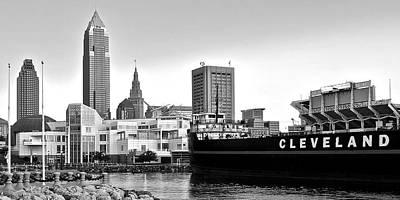 Cleveland Ohio Black And White Panorama Poster