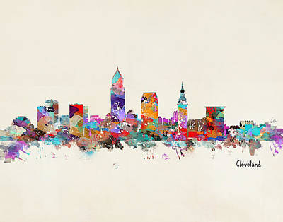 Cleveland Ohio Skyline Poster by Bri B
