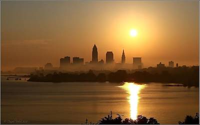 Cleveland Skyline At Sunrise Poster by Daniel Behm