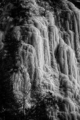 Cliff Ice In Black And White Poster by Robert Knight