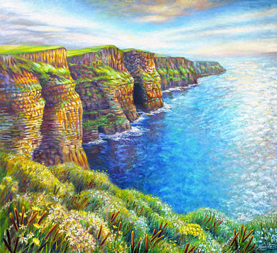Poster featuring the painting Cliffs Of Moher by Nancy Tilles