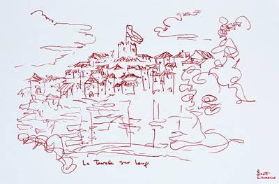 Clifftop Village Of Tourettes Sur Loup Poster
