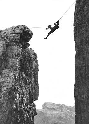 Climber Crossing On A Rope Poster by Underwood Archives