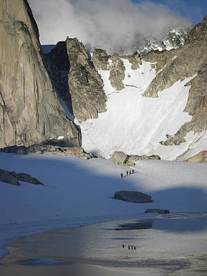 Climbers Enroute To The Bugaboo Snowpatch Col Poster