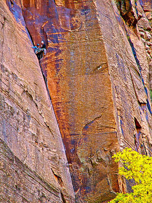 Climbers In Temple Of Sinawava In Zion National Park-utah  Poster