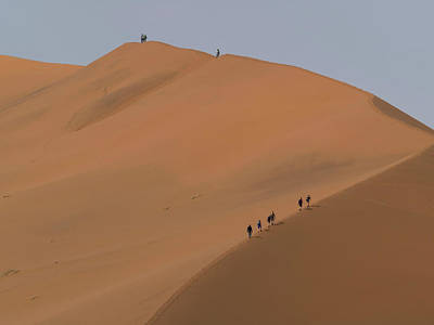 Climbers On Big Daddy Sand Dunes Poster
