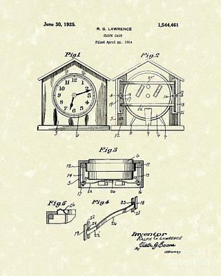 Clock Case 1925 Patent Art Poster