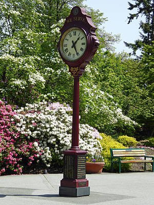 Poster featuring the photograph Clock In Park by Laurie Tsemak