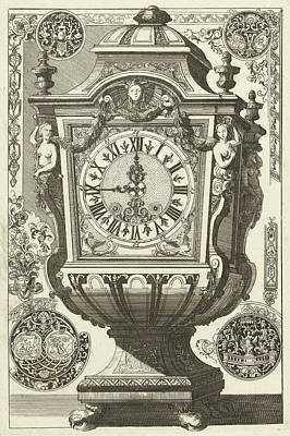 Clock In The Form Of A Rectangular Urn, Danil Marot Poster by Dani?l Marot (i)
