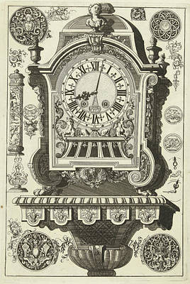 Clock On Console Awarded Bust, Danil Marot Poster by Dani?l Marot (i)