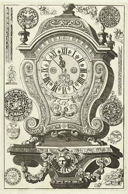 Clock On Console With Mask And Garland, Danil Marot Poster by Dani?l Marot I