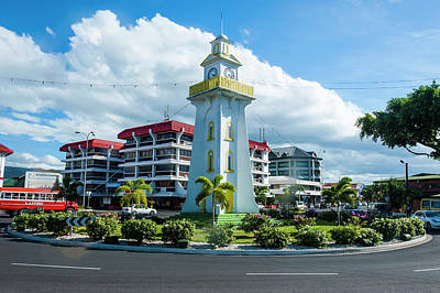 Clock Tower In Downtown Apia, Upolu Poster
