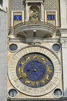 Clock Tower On Piazza San Marco Poster by Sami Sarkis