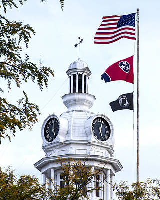 Clock Tower With Tennessee Mia Us Flag Art Poster