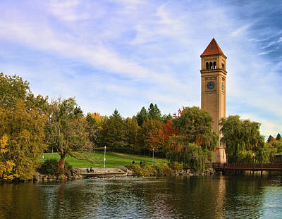 Clocktower And Autumn Colors Poster