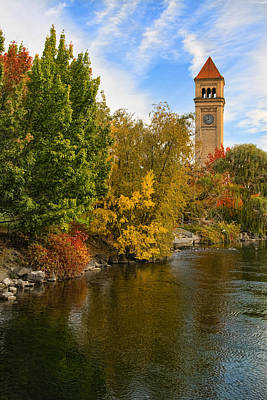 Clocktower In Fall Poster