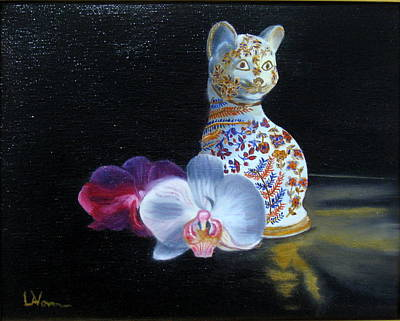 Poster featuring the painting Cloisonne Cat by LaVonne Hand
