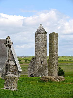 Poster featuring the photograph Clonmacnoise Towers by Suzanne Oesterling