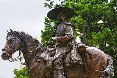 Close Bronze Sculpture Of Early Texas Cowboy Poster