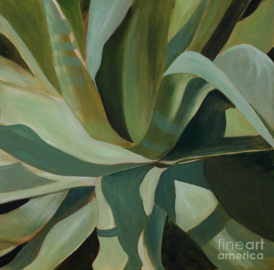 Poster featuring the painting Close Cactus by Debbie Hart