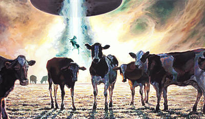 Close Encounters Of The Herd Kind Poster by Todd Trainer