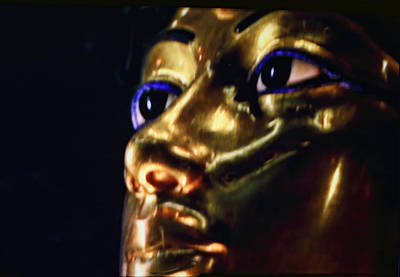 Close King Tut In Gold Poster by Linda Phelps