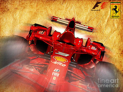 Close-up Of A Ferrari Poster by Stefano Senise