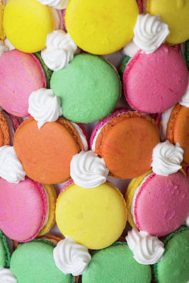 Close Up Of A Macaron Tower Poster by Julien Mcroberts