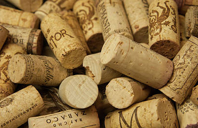 Close-up Of A Pile Of Wine Cork Poster by Bill Bachmann